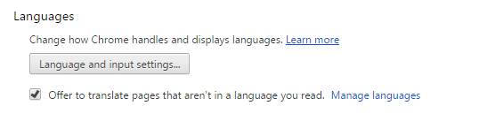 Chrome Language Options
