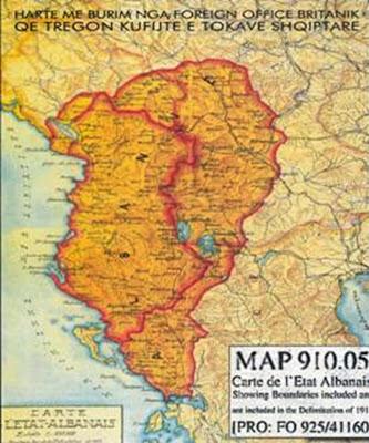 Mappa dell'Albania nel 1913 (archivio ministero della Gran Bretagna)