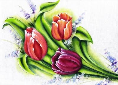 pintura em tecido pano de prato flores tulipas