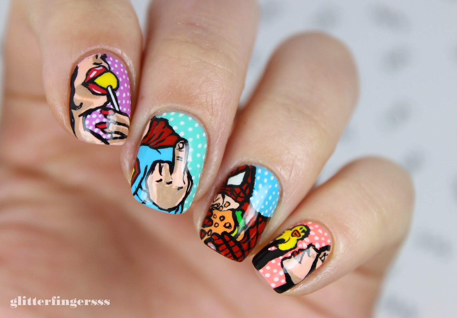 Nail Art Funny Superhero Pop Art Glitterfingersss In English