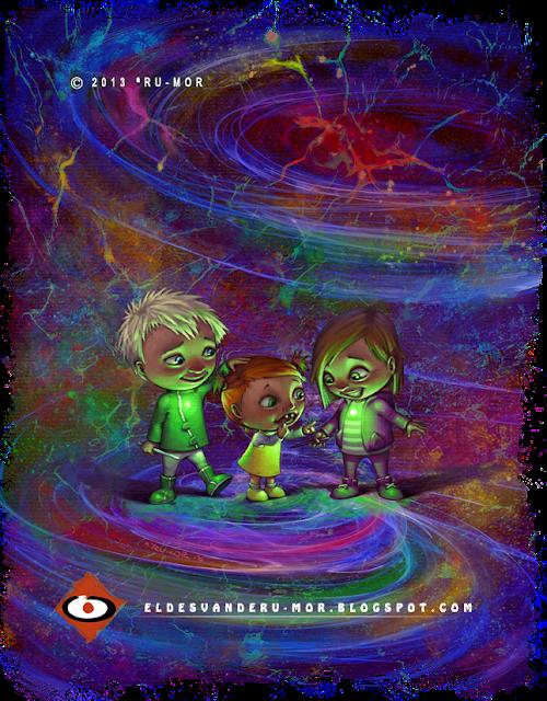 Portada realizada por ªRU-MOR para el tercer libro de la saga infantil de Ada y Zax, una historia muy terrestre