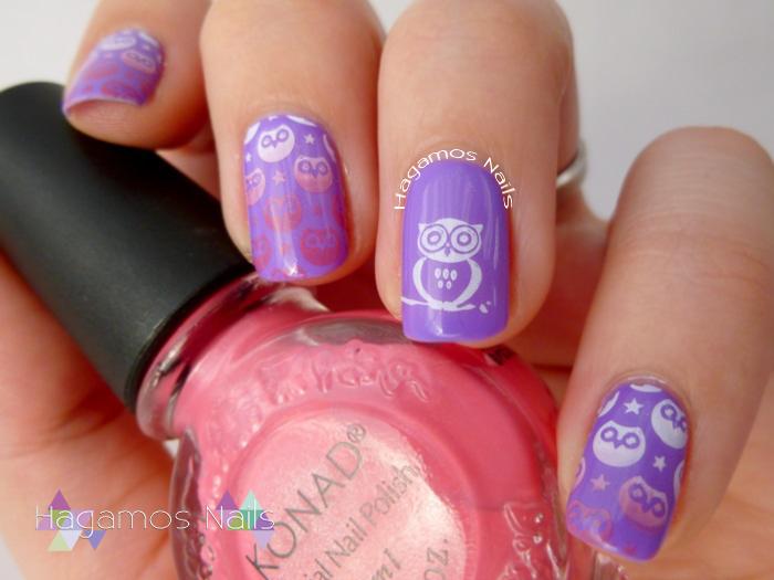Nail Art Violeta con Buhos. Konad España. Ros3s Cosmetics. Hagamos Nails