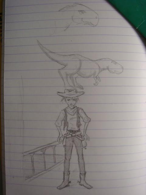cowgirl dinosaur dessin