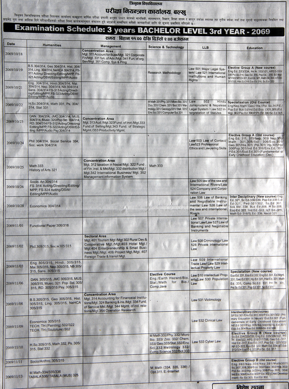 TU Exam Routine Bachelors (BA, BSc, BBS, BEd, LLB) Year 2069 (2012