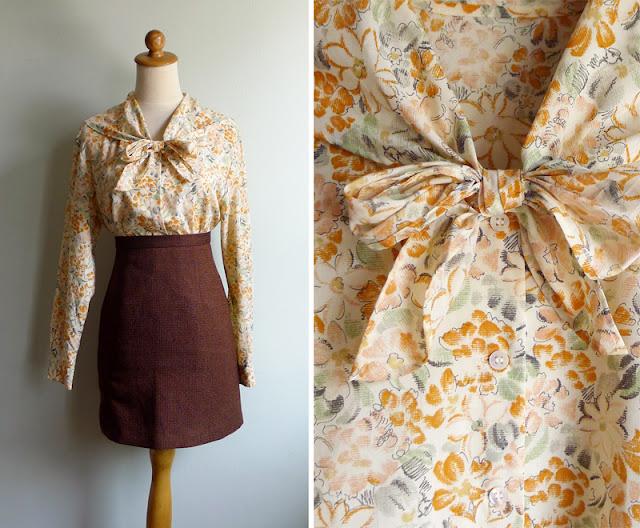 vintage orange floral pussy bow shirt