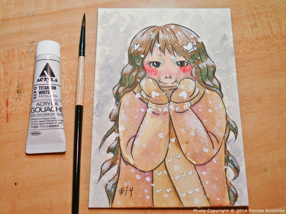 Anime-Style Girl Completed with Gouache