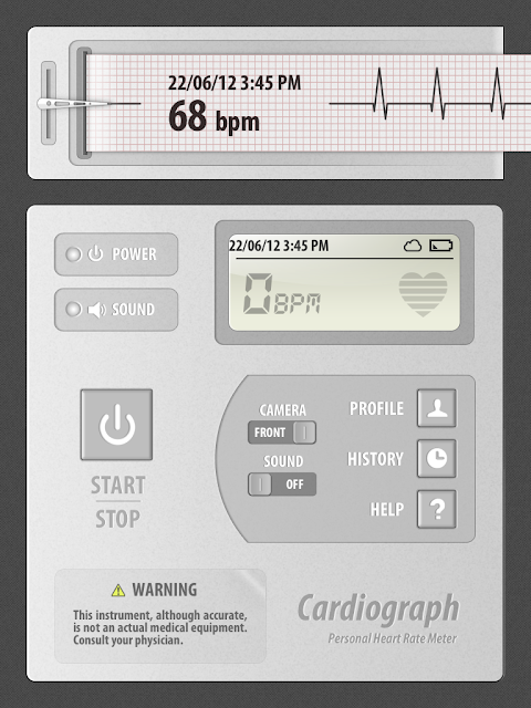 Measure Heart Rate with Phone iPod Tablet Cardiograph app