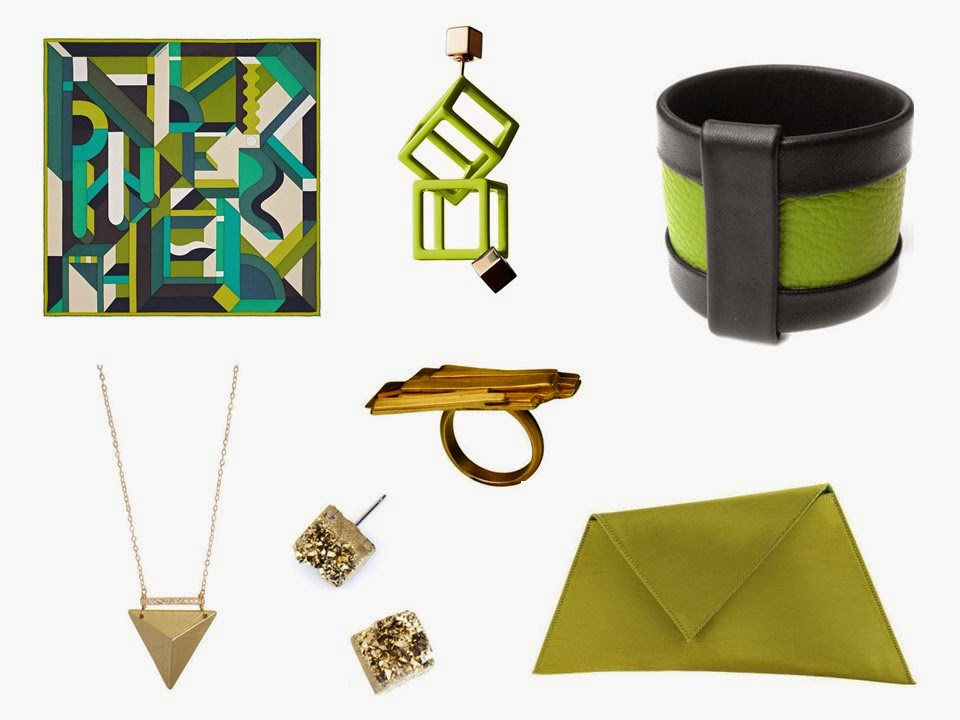 Hermes Perspective Cavaliere silk scarf in green, with complementary accessories