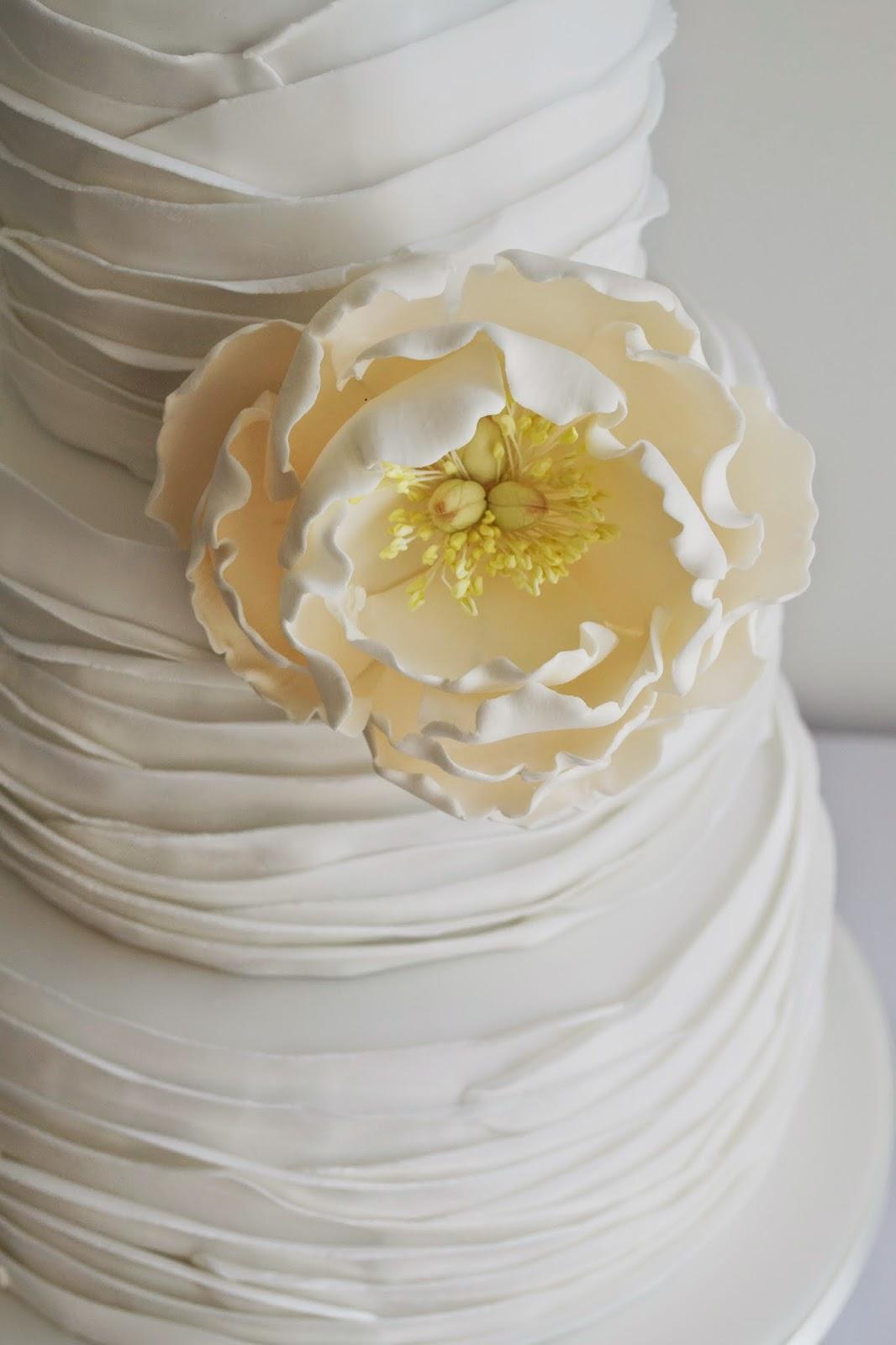 Open Peony Ruffle Wedding Cake - Peony Wedding Cake