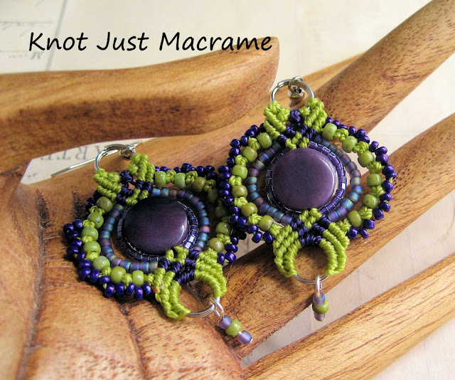 Beaded macrame earrings by Sherri Stokey in green and purple