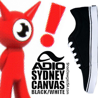 Adio Shoes: The Adio Sydney Shoe Canvas Black White