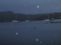 view of boats during storm