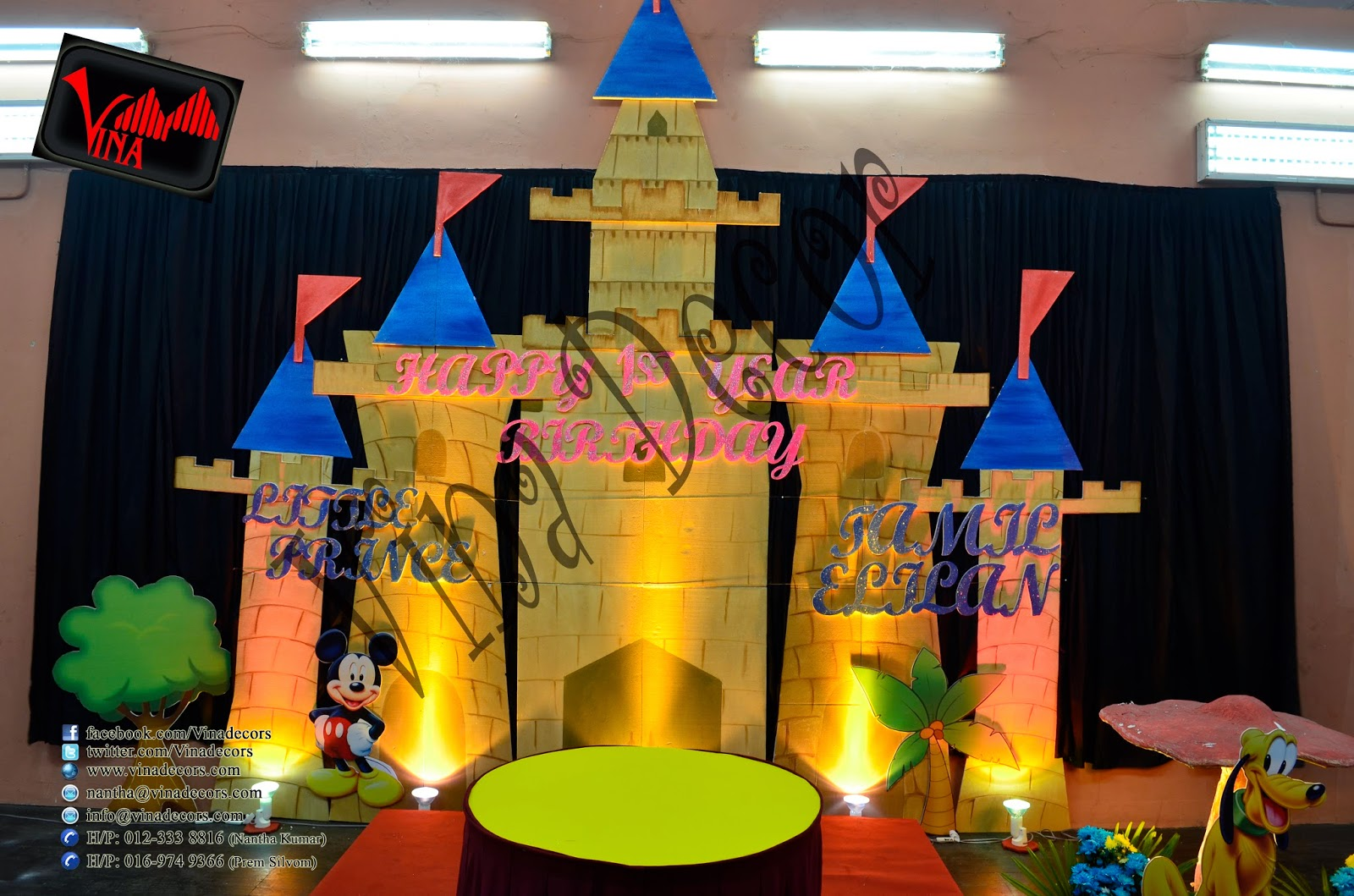 Birthday Decoration - 1st Year Birthday Decoration with Disney Castle - Mickey, Minnie and Friends (Colorful Theme Color) for Little Prince Tamil Elilan on 31/05/2013 at Beranang by Vina Canopy & Decor (Entrance decor with balloon arch, Balloon pillar, Colorful curtains and Disney Castle backdrop setting).