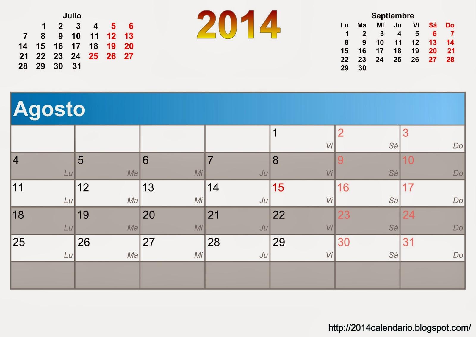 Descargar planificador mensual 2014 , Calendario 2014 para imprimir ...