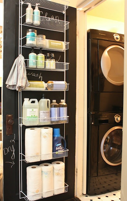 Over the door storage for the Laundry Room
