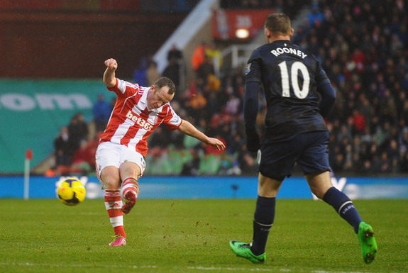 Stoke player Charlie Adam shoots to score his second goal against Manchester United