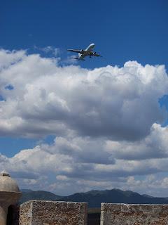Santiago de Cuba plane over El Morro