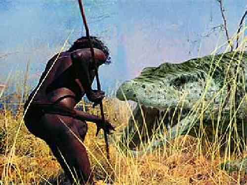 Human hunting a giant Megalania monitor Megalania prisca Komoda lizard