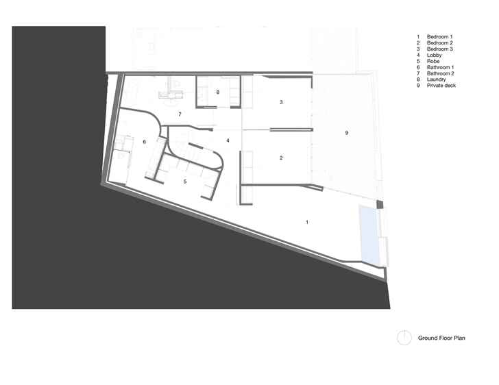 Ground floor plan of Lavender Bay Boatshed by Stephen Collier Architects
