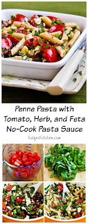 Recipe for Penne Pasta with Tomato, Herb, and Feta No-Cook Pasta Sauce [from KalynsKitchen.com]