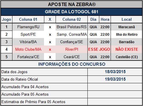 LOTOGOL - 681 - GRADE OFICIAL DO AZ