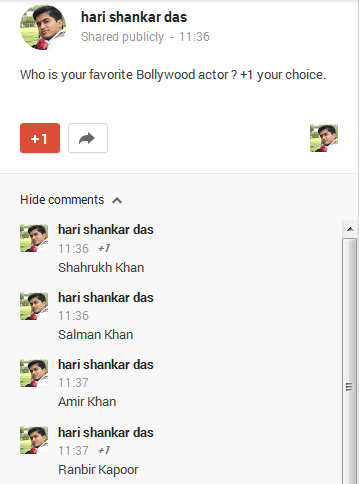 Conducting poll in Google+