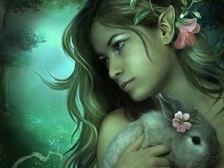 elfa cargando a conejo