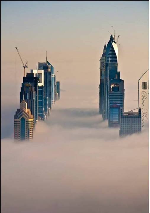 Home decor skyscrapers at sunrise fog in dubai uae for Home decor uae