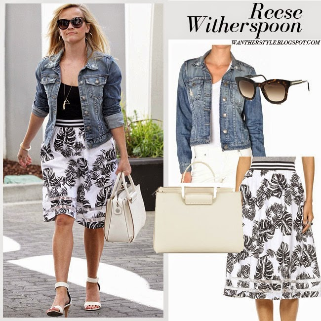Reese Witherspoon in blue denim jacket Fidelity Denim with white and black leaf print skirt J.O.a. and cream tote The Row want her style street fashion april 6