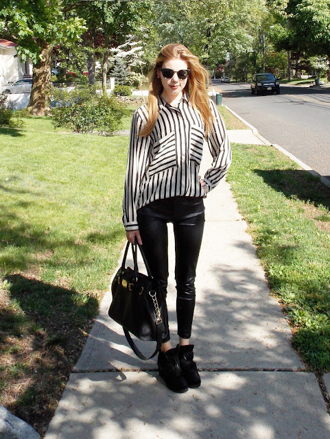 zara black and white striped button up blouse