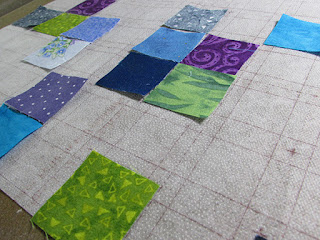 Middle Scrap grid interfacing and scrap fabrics