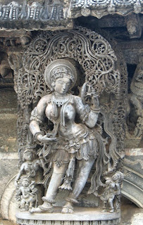 Mohini: Vishnu as the celestial enchantress; Hoyasala stone carving from Karnataka