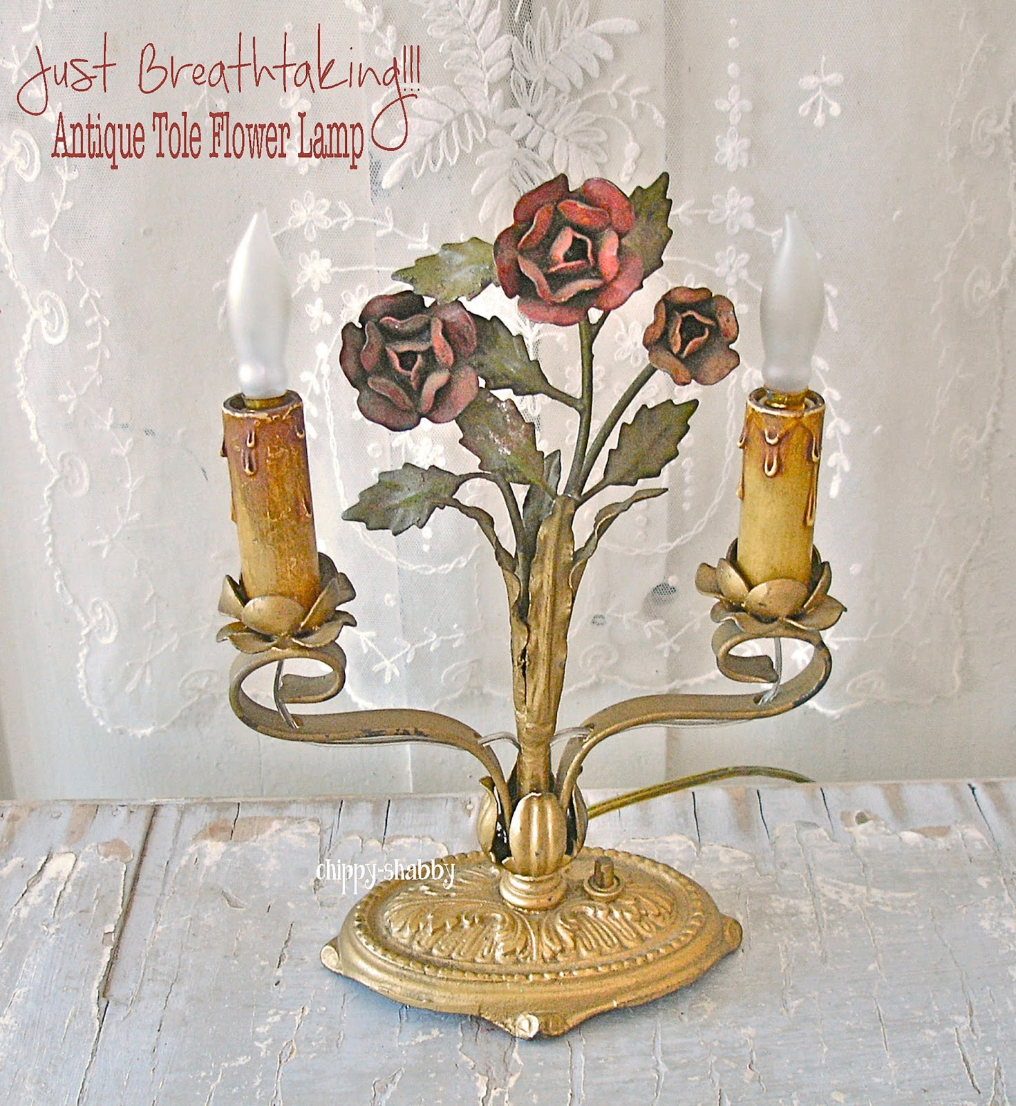 Chippy shabby omg antique vintage rose flower tole lamp antique vintage rose flower tole lamp arubaitofo Image collections