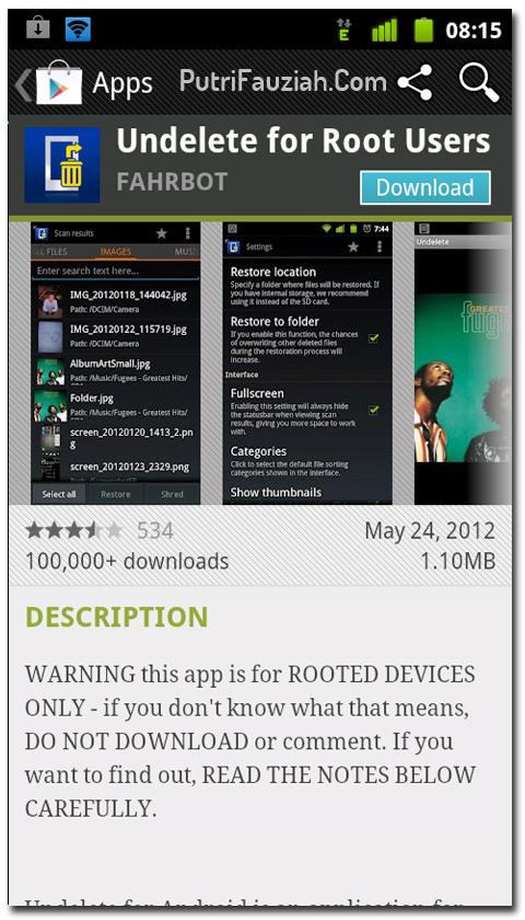 Dengan aplikasi Undelete for Root Users untuk Android ini, Anda bisa