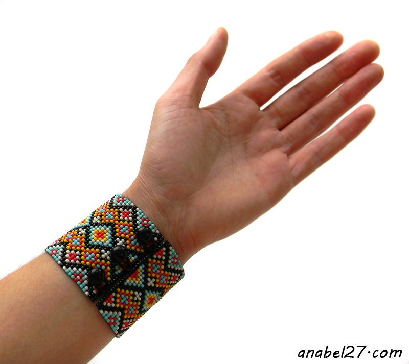 украшения из бисера интернет магазин купить широкий браслет