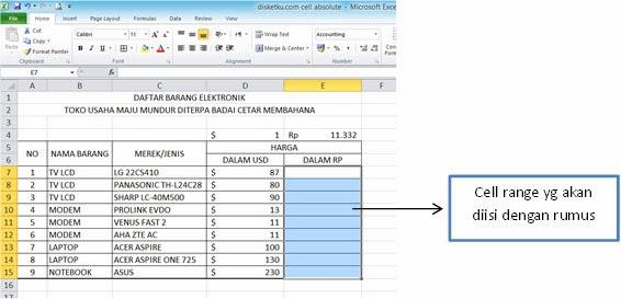 tabel harga untuk contoh cell absolut