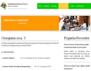UNT 2014-II resultados e ingresantes examen Admisión Universidad de Trujillo UNT 16 de Marzo