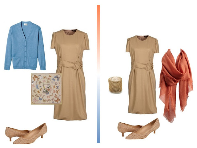 Accessorizing a camel dress with blue, or with terracotta, from a travel capsule wardrobe in camel, terracotta and blue