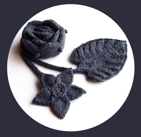 Hand Knit Charcoal Leaf and Flower Scarf for Fall - Fun Fashion Accessory