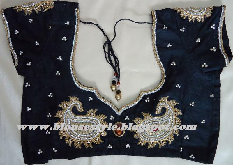 black colour beads work designer back neck blouse