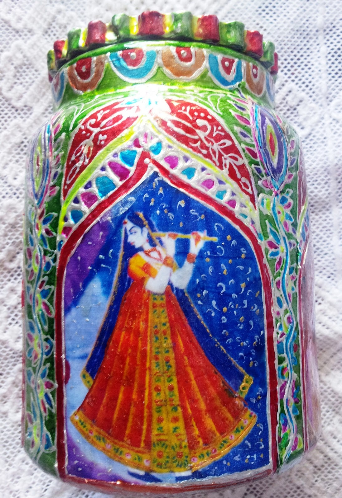 My creations decoupage n glass painting on pickle jar for Using fabric paint on glass