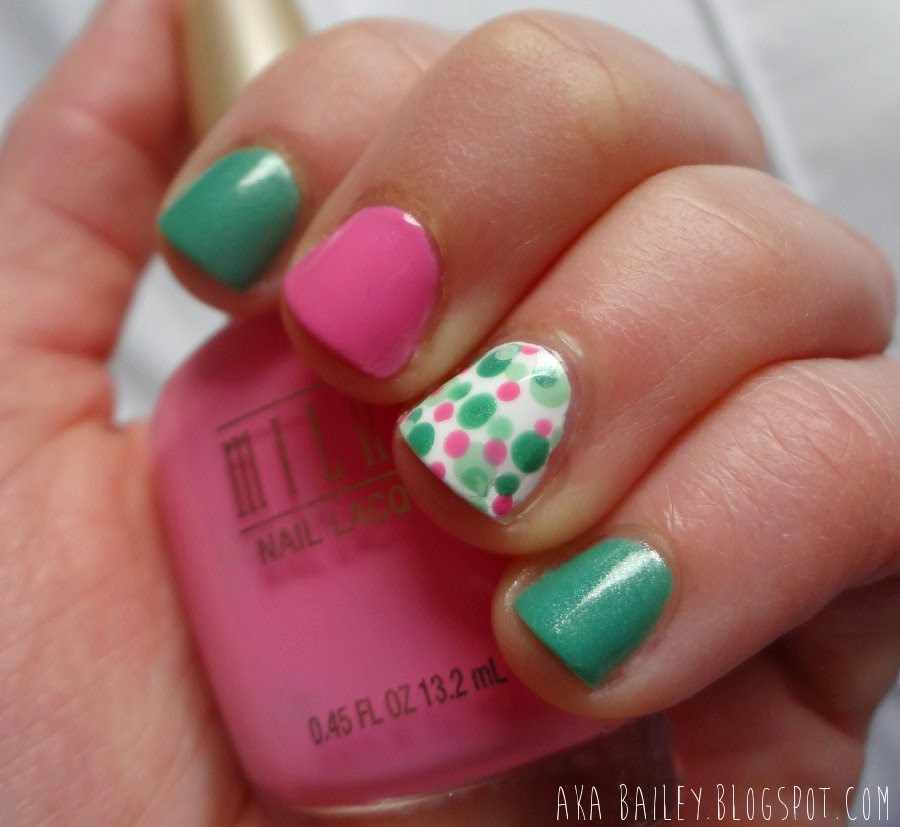 Mint Apple nails with Tip Toe Pink and polka dot accent nails, aka Bailey blog
