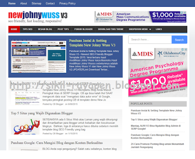 New Johny Wuss V3 - Best SEO Friendly Blogger Template