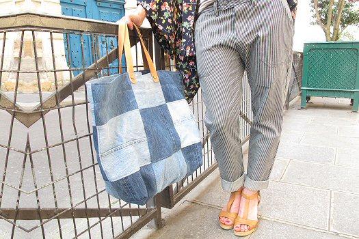 Cabas jeans bleu Matières à réflexion sac Patch