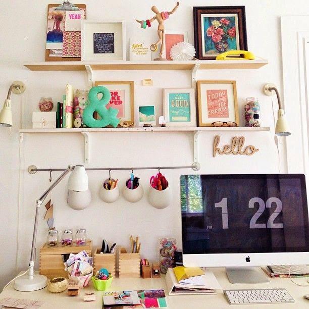 bureau, office, affiche, pele mele, étagères, inspiration, bullelodie