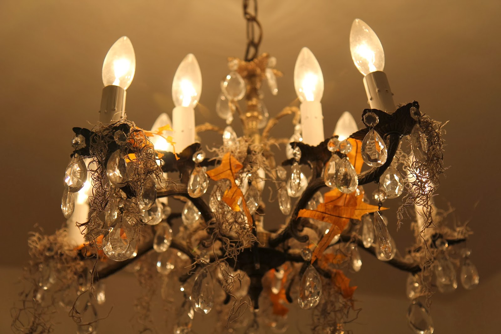 Moss on Chandelier; Hauntify Your House for Halloween