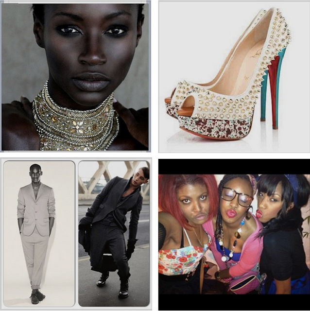 kate menson ghanian supermodel louboutin spiked heels menswear fashion 80s roller disco