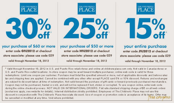 Browse for The Children's Place coupons valid through December below. Find the latest The Children's Place coupon codes, online promotional codes, and the overall best coupons posted by our team of experts to save you 15% off at The Children's Place. Our deal hunters continually update our pages with the most recent The Children's Place promo codes & coupons for , so check back often!