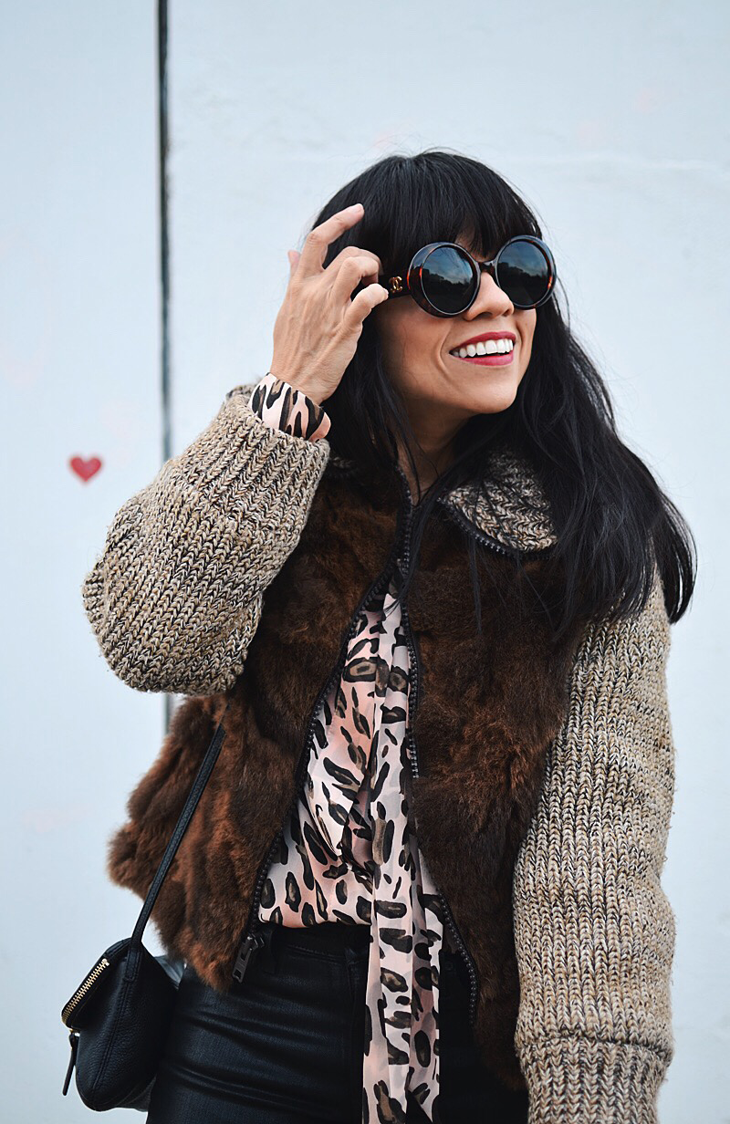 Fur with leather street style