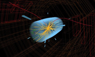 An artistic representation of collision of hadrons and formation of Higgs boson (The God Particle) by Large Hadron Collider [Image credit: CMS and CERN]